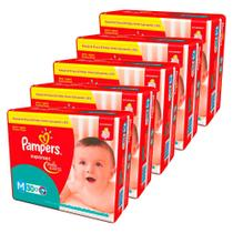 Kit 5 pacote fralda pampers supersec total m 150 tiras -