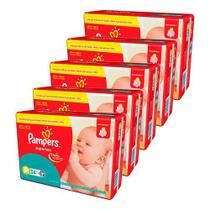 Kit 5 pacote fralda pampers supersec total p 170 tiras -
