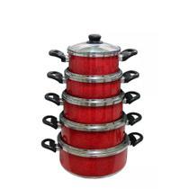 Kit 5 Panelas Vermelho Aluminio Batido Grosso Com Tampas De Vidro Premium - Plug Lar
