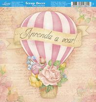 kit 5 Papel Scrap Decor Folha Simples 15x15 Balão Com Rosas SDSXV-105 - Litoarte -