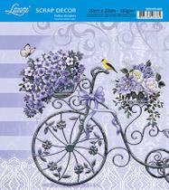 Kit 5 Papel Scrap Decor Folha Simples 20x20 Bicicleta C/ Flores SDSXX-003 - Litoarte -