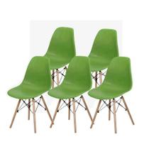 Kit 5 peças cadeira charles eames wood design dsw - Cds