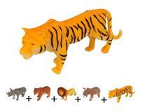 Kit 5 peças Grande Reino Animal de Borracha - Elefante Tigre Leão Urso Rinoceronte - Wellmix