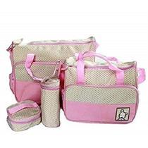 Kit 5 peças luxo bolsa de bebe maternidade com trocador porta papinha e mamadeira menina rosa kangur -