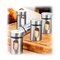 Kit 5 peças Porta temperos condimentos em geral vidro inox - Unyhome