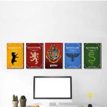 Kit 5 Placas Decorativas Casas Harry Potter - Arte Quadro