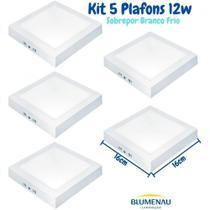 Kit 5 Plafon Led Sobrepor Quadrado 12w 6500K Leitoso Blumenau -