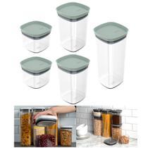 Kit 5 Potes Herméticos Porta Alimentos Mantimentos Com Tampa Cozinha Block - KTE 027 Ou -