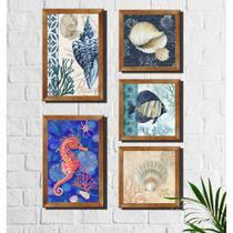 Kit 5 Quadros Decorativos Fundo do Mar - Arte Quadro