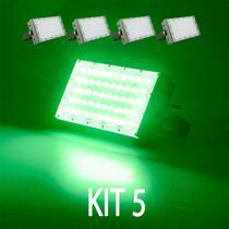 Kit 5 Refletor Led Smd 50w Modular Verde Bivolt Casa Loja Jardim - Super Led