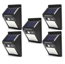 Kit 5 Refletor Luminária Placa Solar 30 Led Parede Jardim Piscina Sensor Movimento Resistente Sol e Chuva -