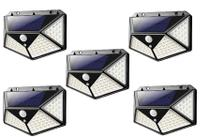 Kit 5 Refletor Luminária Solar 100 Leds Parede Jardim Piscina Sensor Movimento 3 Modos -