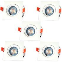 Kit 5 Spot Led Direcionável Quadrado 5W Branco Morno Bivolt - Inluss