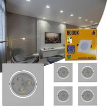Kit 5 Spot Super LED 3W Quadrada Direcionável 6000K Branco Bivolt Alumínio Embutir Gesso Sanca Teto - Kit Iluminação