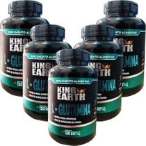 Kit 5 Un. L Glutamina Pura 500 mg 600 Cápsulas -  King Earth - Rei Terra