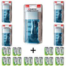 Kit 5 Unidades Carregador Universal + 20 Pilhas Tipo D Flex -