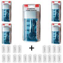 Kit 5 Unidades Carregador Universal + 20  Pilhas Tipo D Rontek - Mox