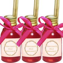 Kit 50 Aromatizador Lembrancinha Festa de 15 Anos Floral Fita Pink 30ml - ClickStock