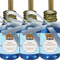 Kit 50 Aromatizador Lembrancinha P Maternidade Ursinho Cheirinho de Bebê Azul -Fita Azul Claro 30ml - Clickstock