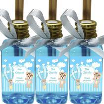 Kit 50 Lembrancinhas Maternidade - Ursinho Menino Arte Fixa 42ml MBA Fita Azul Claro - ClickStock