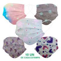 Kit 50 Máscara Descartável Infantil Filtro Meltblown Clipe - Art 7