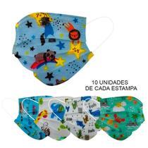 Kit 50 Máscara Descartável Infantil Tripla Filtro Meltblown - ProtectKids