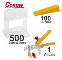 Kit 500 Espaçador Nivelador Cortag Para Porcelanatos, piso e revestimentos +1 Alicate + 100 Cunha -