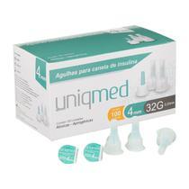 Kit 500un agulha caneta insulina 4mm 32g uniqmed -