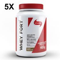 Kit 5X Whey Fort - 900g Chocolate - Vitafor -