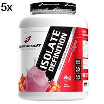 Kit 5X Whey Isolate Definition - 2000g Morango - BodyAction