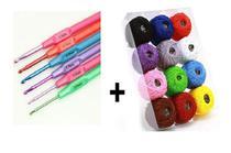 Kit 6 Agulhas Crochê Cabo Plástico + 12 Linhas Crochê - NYBC