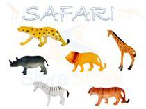 KIt 6 Animais Da Selva Safari Emborrachados Vinil Brinquedo - Ausini