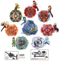 Kit 6 Beyblade Burst + Lançadores Rantaro Valt Shu Ken Daigo - Storm Gyro