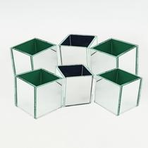 KIT 6 Cachepot Espelhado Quadrado Cubo 6cm 5001K6 LylHome -