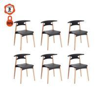 Kit 6 cadeira rebecca design preto para mesa de jantar cozinha - Lucyhome