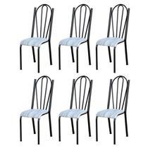 Kit 6 Cadeiras 021 América Cromo Preto/Linho - Artefamol -