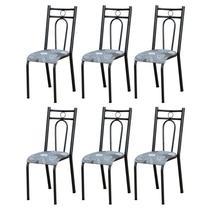 Kit 6 Cadeiras 023 América Cromo Preto/Pará - Artefamol -