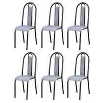 Kit 6 Cadeiras 058 América Cromo Preto/Grafiato - Artefamol -