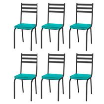 Kit 6 Cadeiras 118 Europa Preto/Azul Turquesa - Artefamol -