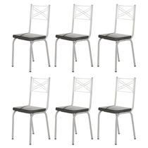 Kit 6 Cadeiras 119 Europa Branco/Platina - Artefamol -