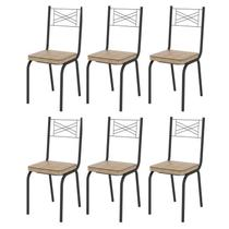 Kit 6 Cadeiras 119 Europa Preto/Rattan - Artefamol -