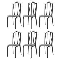 Kit 6 Cadeiras 121 Europa Preto/Platina - Artefamol -