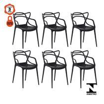 Kit 6 cadeiras allegra design preto empilhável para mesa sala de jantar cozinha - Lucyhome
