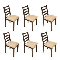 Kit 6 Cadeiras Almofadada De Madeira Marselha Imbuia - Urbano - Nina Mobilia