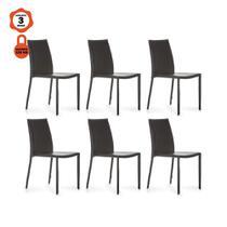 Kit 6 cadeiras amanda design mesa sala de jantar em aço e pvc café - LUCYHOME