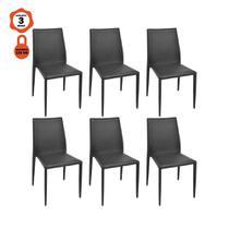 Kit 6 cadeiras amanda design mesa sala de jantar em aço e pvc preto - LUCYHOME