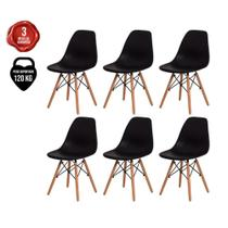 Kit 6 Cadeiras Charles Eames Eiffel Azul Bic Base Madeira - Baba Shop