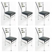 Kit 6 Cadeiras de COZINHA com reforço cromada assento preto - Poltronas do Sul -
