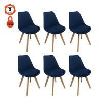 Kit 6 cadeiras eames eiffel leda saarinen design em veludo azul para mesa de jantar sala cozinha - LUCYHOME