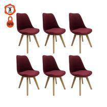 Kit 6 cadeiras eames eiffel leda saarinen design em veludo vinho para mesa de jantar sala cozinha - LUCYHOME